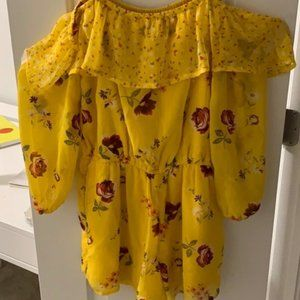 Yellow Abercrombie Flower Romper Girls Cute&Comfy